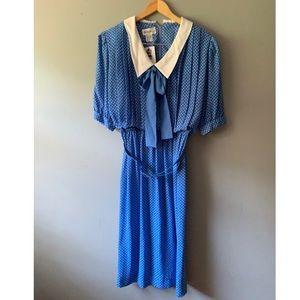 Vintage B.G.B. Ltd Blue Polka Dot Dress Size 12
